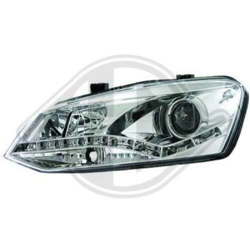 phares design, set POLO, 10 chrome feu de position LED, optique TFL DRAGON LIGHTS pour réglage électrique ampoules H7/H1