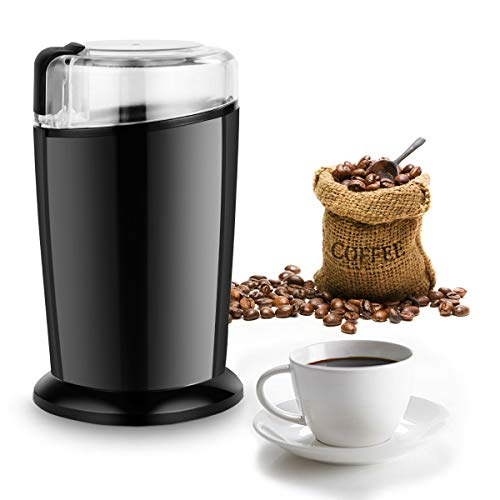 COSTWAY Elektrische Kaffeemühle, Universalmühle Kaffee Mühle 70g Fassungsvermögen Edelstahl 150W (Dunkelschwarz)