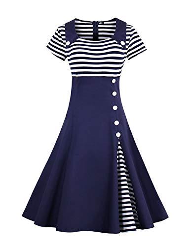 Retro Herbst Abendkleid Cocktailkleid Mit 50Er Vintage Streifen Rockabilly Mode Marken Swing Audrey Hepburn Kleid Mit 1 2 Ärmel (Color : Blau1, Size : M)