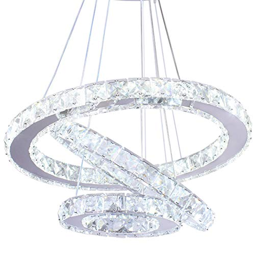 Elliptische LED Moderne Kristall Kronleuchter Edelstahl Pendelleuchte Deckenleuchte Schlafzimmer Lüster Warmweiß Kaltweiß (Kaltweiß-2)