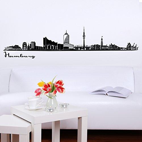 Wandkings Skyline - Deine Stadt wählbar - Hamburg - 125 x 22 cm - Wandaufkleber Wandsticker Wandtattoo