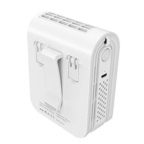 Tragbarer Ventilator, infray USB Ventilator, Sport Ventilator 3600mAh Akku, Tragbarer Nackenventilator, Handfrei Ventilator, Tischventilator, Taillenventilator, Ventilator für Nacken, 3 Stufen (Weiss)