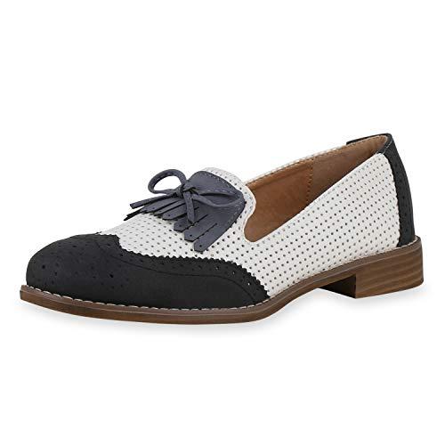 SCARPE VITA Damen Loafers Slippers Schleifen Fransen Cut-Outs Schuhe Holzoptik Blockabsatz Bequeme Schlupfschuhe 195125 Schwarz Weiss Grau 41