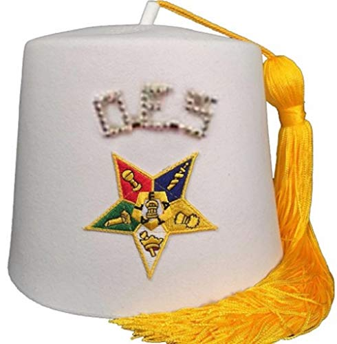 Regalia Lodge Order of The Eastern Star OES Rhinestone 1' White Fez (White, 8(24 7/8''=25 1/8''))