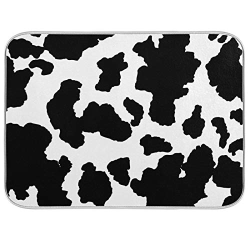 Qilmy Funny Cow Dish Drying Mat Absorbent Microfiber Pad Protector For Kitchen,Counter Top Mat,Dish Drainboard,18x24in