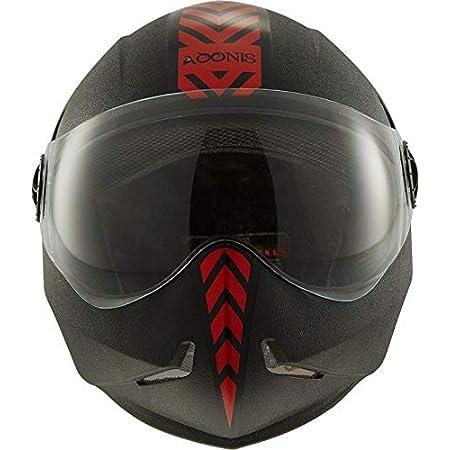 Steelbird SB-50 Adonis Dashing Black and Red Helmet with Plain Visor,600mm(Black Red, Large)