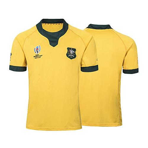 Rugby-Trikot 2019 Australian Weltmeisterschaft Rugby Jersey,Australian Home/Away Für Männer Kurzarm-Freizeit-T-Shirt-Trainingsanzüge Yellow-S