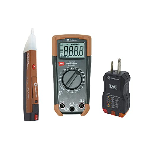 Southwire 10037K Electrical Test Kit with Full-Function Multimeter, Non-Contact Voltage Detector, and Outlet Tester, Includes Test Leads and Batteries