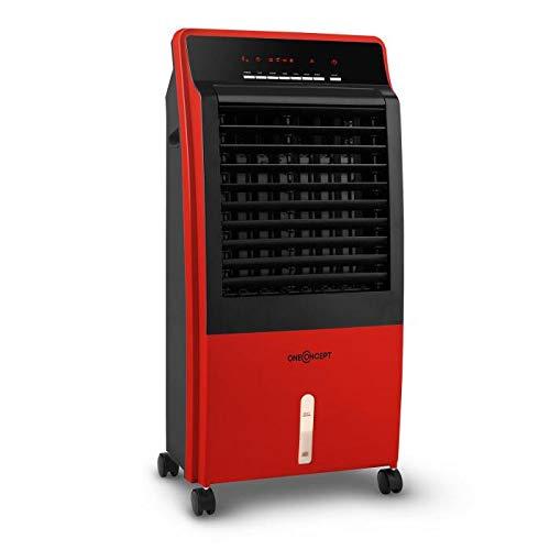 OneConcept CTR-1 Red Line - Rafraichisseur d'air, Ventilateur 4-en-1, Performance économe 65W, Production d'air 400m³/h, 3 Niveaux de Puissance, Timer intégré, Filtre poussière intégré, Rouge