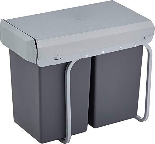 Wesco 12381 - Cubo de basura integrado (2 compartimentos de 15 L), material plástico, Plata/antracita