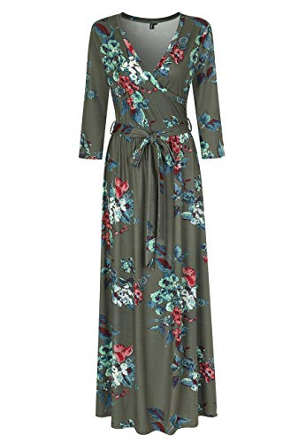 Zattcas Womens 3/4 Sleeve Floral Print Faux Wrap Long Maxi Dress with Belt,Floral-1,X-Large
