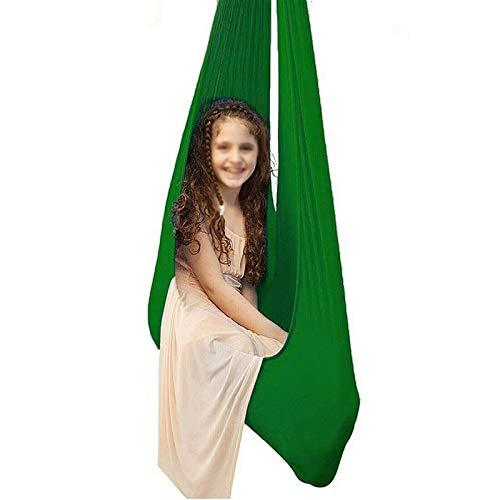 LICHUXIN Oksmsa Columpio De Terapia Silla De Asiento Colgante Estable For Acurrucarse Hamaca For Niños Abrazo For Autismo ADHD Aspergers (Color : Green, Size : 100x280cm/39x110in)
