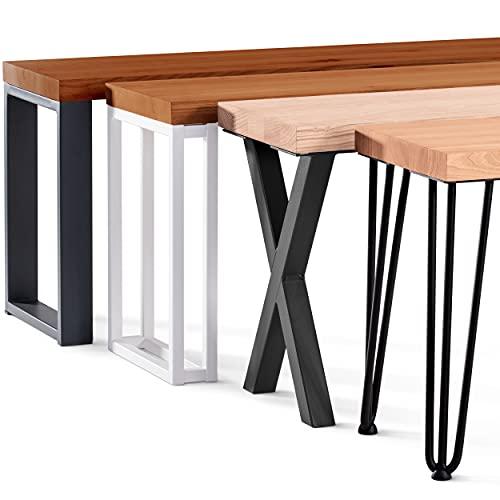 LAMO Manufaktur Taburete de Madera para Comedor 30x80x47 cm (Ancho x Largo x Alto), Patas para Muebles Modelo Creative Blanco / Asiento Oscuro, LSB-01-A-004-80-9016Cr