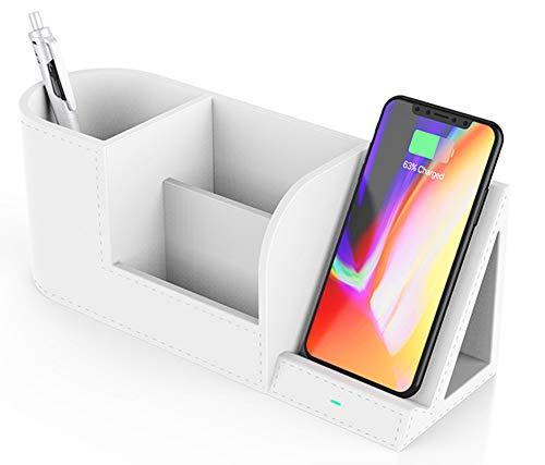 JEANMISS Cargador inalámbrico con Organizador de Escritorio, Multifuncional 2 en 1 de Carga rápida de 10 W, Cargador de inducción Certificado por Qi, Compatible con iPhone 8 o Superior,Blanco