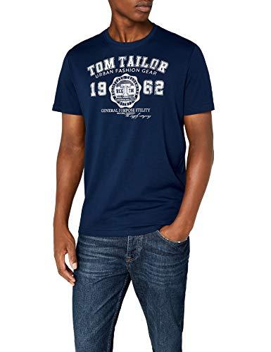 TOM TAILOR Herren Logodruck T-Shirt, Blau (Estate Blue 6845), M