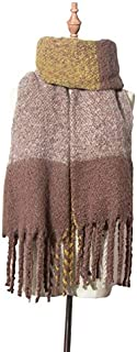 PANFU-AU Thick Double-faced Keep Warm Scarf Europe And America Circle Sand Coarse Tassel Scarf Color Matching Shawl