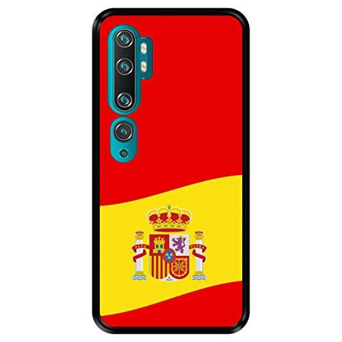 Funda Negra para [ Xiaomi Mi Note 10 - Note 10 Pro - CC9 Pro ] diseño [ Ilustración 2, Bandera de España ] Carcasa Silicona Flexible TPU