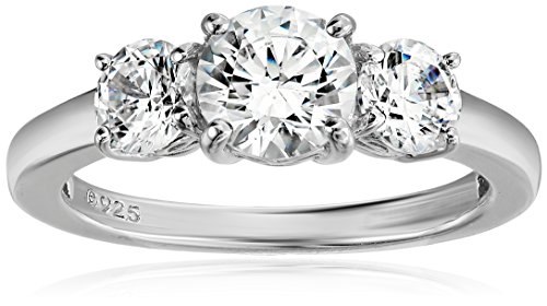 Amazon Collection Platinum-Plated Sterling Silver Round 3-Stone Ring made with Swarovski Zirconia (2 cttw), Size 7