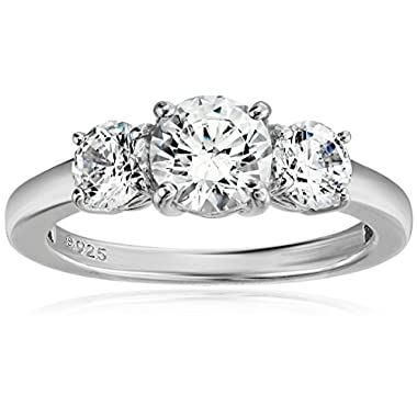 Amazon Collection Platinum or Gold Plated Sterling Silver Round 3-Stone Ring made with Swarovski Zirconia
