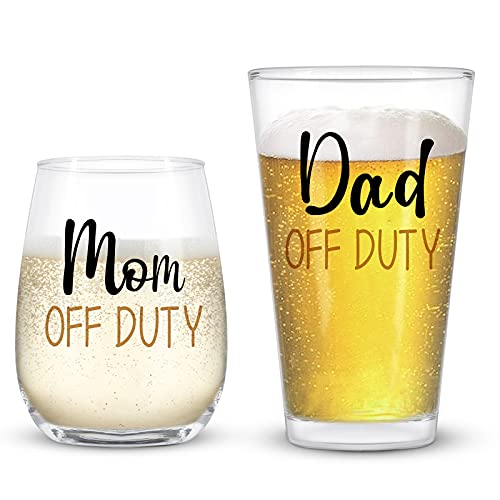 Dad and Mom Gift Set, Dad & Mom off Duty Beer Glass and Stemless Wine Glass Combo for Dad Mom New...
