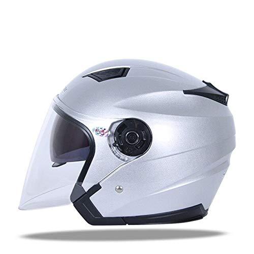 MYSdd Motorradhelm Unisex bunt Light Crash Helm Double Lens atmungsaktiv komfortabler motorradhelm - Silber XL