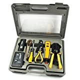 InstallerParts 10 Piece Network Installation Tool Kit - Includes LAN Data Tester, RJ45 RJ11 Crimper, 66 110 Punch Down, Stripper, Utility Knife, 2 in 1 Screwdriver, and Hard Case