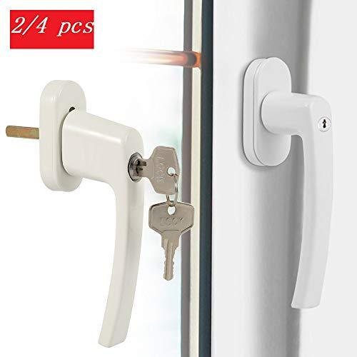 Fenstergriffe Fensterschloss Kindersicherung Abschließbar Weiß 2/4 Stücke mit Schlüsseln für Kinderschutz Einbruchschutz (2pcs)