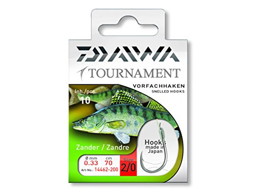 Daiwa Tournament Zanderhaken Vorfachhaken 70cm 10Stk, Gr. 2/0