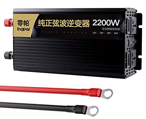 Inversor de energía de Onda sinusoidal Pura 2200w 3200w 5200w 6000w 7000w (Potencia máxima) Convertidor de CC 12 V / 24 V a 240 V CA, con Salidas de CA Dobles y USB con Pantalla LCD, 24 V-5200 W