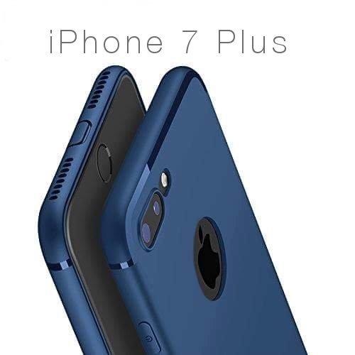 PfX] Blau Matte Hülle geeignet für iPhone 7 Plus (5,5 Zoll) mit integriertem Staubschutz Ultra-Slim (0,5mm Dicke) - Nicht geeignet für 8 Plus! (Blue-Line)