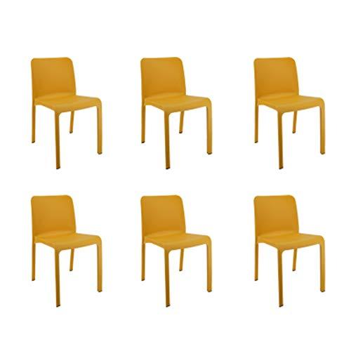 Shaf 55418 Grana | Set 6 Gartenstühle Stapelbar | Balkonmöbel für Terrasse oder Garten-Gelb