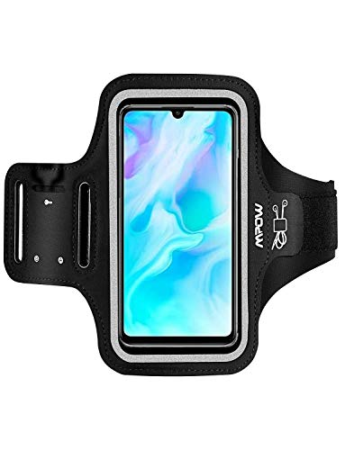 Mpow Sportarmband Handy Armtasche für iPhone 11/XR/8 Plus/7 Plus Samsung S20 bis zu 6, 5 Zoll, Schweißfestes Handy Armband mit Reflektivband, Kopfhörerschlitz Schlüsselschlitz, für Joggen, Radfahren