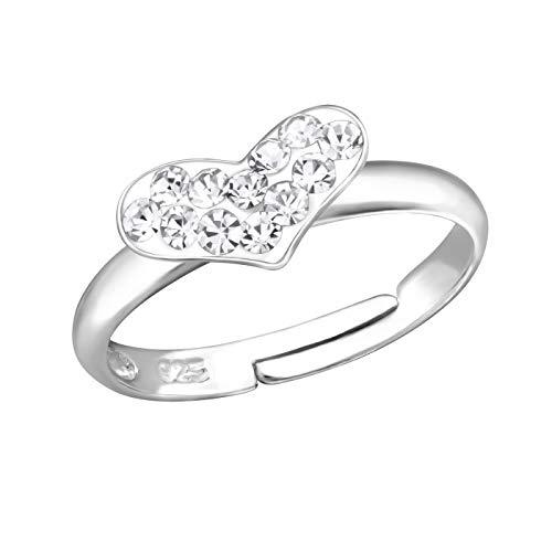 Kinder Ring Fingerring Herz Kristall weiß verstellbar 925er Silber Mädchen 9x5mm