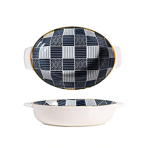 Plato para hornear estilo japonés, ovalado con asas dobles, bandeja de cerámica poco profunda para hornear Lasaña, platos para cocina, cena de pasteles, banquete y uso diario