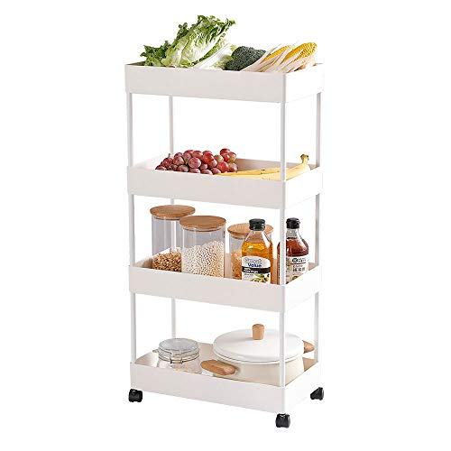 Moxeay Slim Storage Cart Mobile Utility Cart 4 Tier Storage Cart Rolling Utility Cart ABS Basket Shelves Storage Organizer with Caster Wheels for Kitchen Bathroom Laundry Office (White)