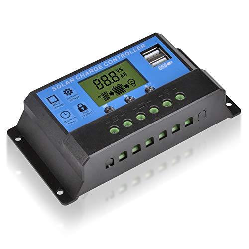 TOHHOT Zantec lichtregelaar zonnepaneel laadregelaar 12 V/24 V auto zonne-controller met display 10 A, 65A