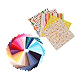 HEALLILY 100 Piezas de Grasa Cuartos Paquetes de Tela Acolchado Floral Patchwork Tela de Algodón para Acolchar Costura Manualidades de Bricolaje
