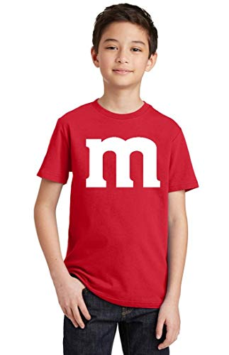 M Halloween Team Costume Funny Party Youth T-Shirt, Youth L, Red