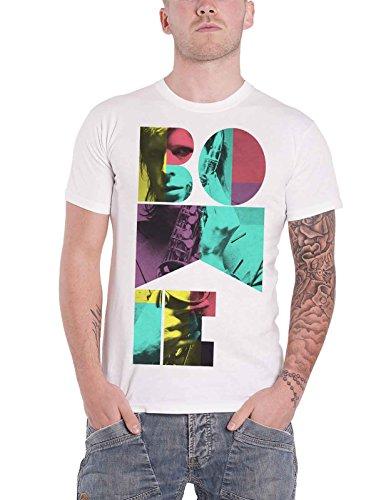 David Bowie T Shirt Colour Sax Portrait Nuovo Ufficiale Uomo Bianca Size L