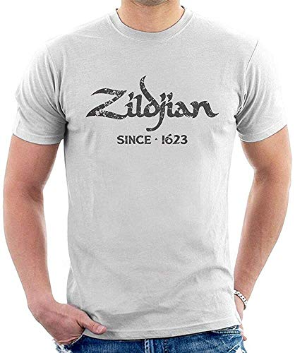 Zildjian T-Shirt Graphic Top Printed tee Shirt for MensWhiteS