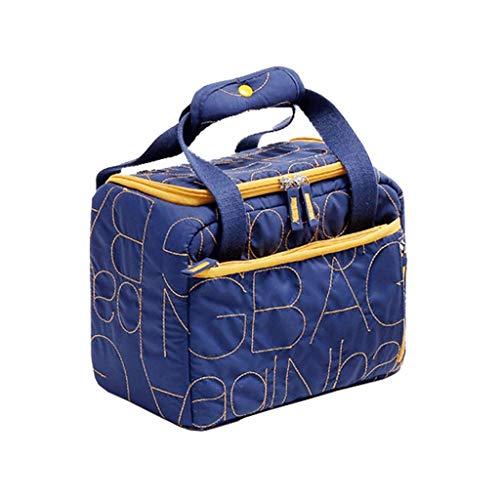 Unbekannt YUN Isolierung Lunch Bag Aufbewahrungstasche Lunch Box Wasserdichter Stoff Verdickt Isolierte zusammenklappbare Picknick-Handtasche Für Frauen, Erwachsene, Studenten und Kinder (Blau)
