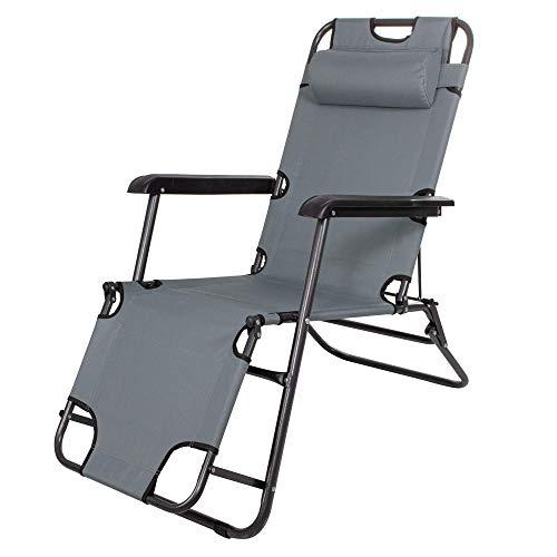 Tumbona de jardín Springos con reposacabezas, tumbona con mesa auxiliar, plegable, silla de relax