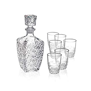 Bormioli Rocco Dedalo Whiskey Gift Set – Sophisticated 26.25oz Diamond Decanter & 6 Etched 8.75oz Whiskey Glasses With Sparkling Star-Cut Detailing – For Whiskey, Bourbon, Scotch & Liquor (B000MD6A2M) | Amazon price tracker / tracking, Amazon price history charts, Amazon price watches, Amazon price drop alerts