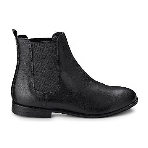 Cox Damen Chelsea-Boots in Schwarz aus Leder, Stiefelette mit Stretch-Einsatz und höherem Schaft Schwarz Leder 39