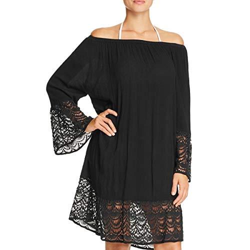 Muche & Muchette Womens Miles Crochet Trim Dress Swim Cover-Up Black O/S