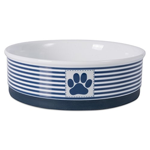 Bone Dry Paw Patch & Stripes Ceramic Pet Bowl & Canister Collection, Large Bowl - 7.5 x 7.5 x 2.4, Nautical Blue
