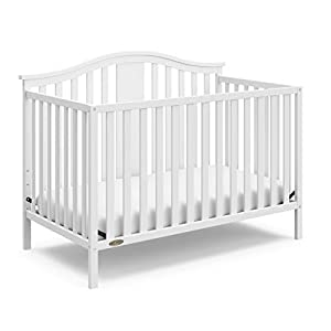 Stork Craft Graco Solano 4-in-1 Convertible Crib, Easily Converts to Toddler Bed Day Bed or Full Bed, Three Position Adjustable Height Mattress, Assembly Required (Mattress Not Included), White, Crib
