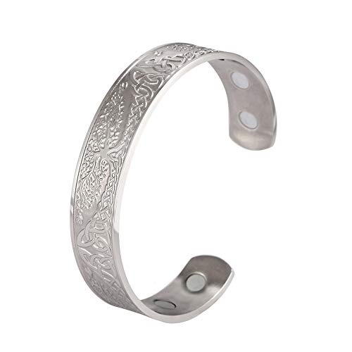 LUSSO Stainless Steel World Tree of Life Health Care Viking Celtic Knot Cuff Bangle Bracelet for Women Men (Silver)
