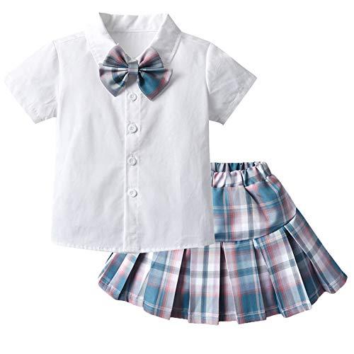 Kinder Mädchen Schuluniform Outfits Mädchen Krawatte Weiß Shirt Faltenrock Sets Baby Mädchen Bowknot Hemd Plaid Mini Rock 2Pcs Kleidung Sets Kinder Tennisrock Zauberer Set Karneval Fasching Kostüm