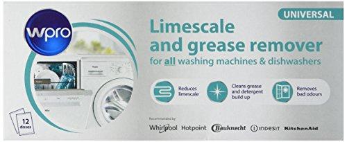 WPRO Indesit Limescale And Detergent Descaler and De Greaser (Boîte de 12) (Hotpoint/Creda Pièces, produit) aide à tuer les bactéries et élimine les odeurs et maintient votre machine à laver odeur fraîche